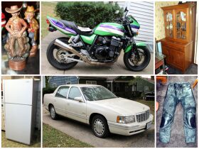montage of motorcycle, car and other items