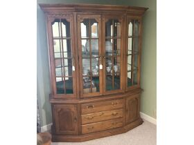 2 Piece China Cabinet with Glass Shelves, Mirrored