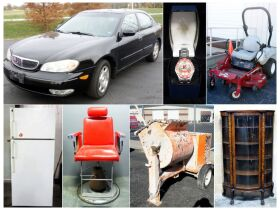 Montage of 2001 Infiniti car, riding mower, wooden