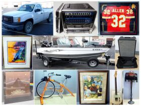 montage of pickup truck, motor boat and other asso
