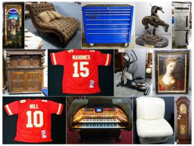 montage of sportsware, chairs and storage cabinets