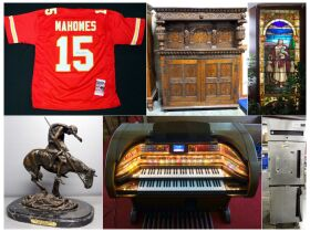 sports jersey, antique chest, organ and other item