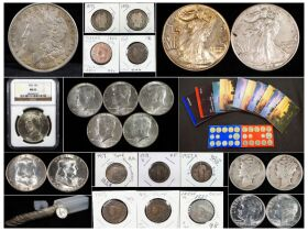 a montage of coins