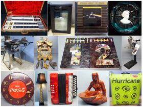 clock, paperweight and other assorted items