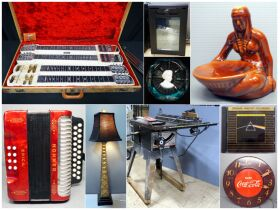 harpsicord, lamp, saw table, clock and more