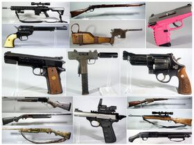 montage of pistols and rifles