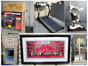 montage of painting, figurine, treadmill, and more