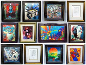 montage of Peter Max and Ji Cheng paintings