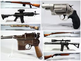 montage of pistols, rifles and other guns