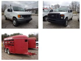 FORD E250 WORK VANS & 2 STOCK TRAILERS - Online Bidding Ends TUE, MARCH 2 @ 4:00 PM EST featured photo 1