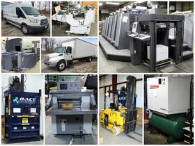 montage of commercial printing equipment and vehic