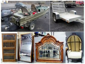 montage of boat, trailer and furniture