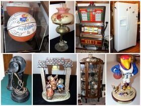 montage of furniture, figurines and sport memorabi