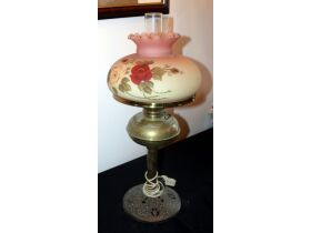antique brass and glass hurricane lamp
