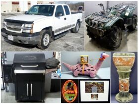 montage of Chevy pickup, all terrain vehichle, bar