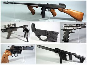 montage of rifles and pistols