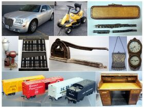 montage of car, riding lawnmower and other items