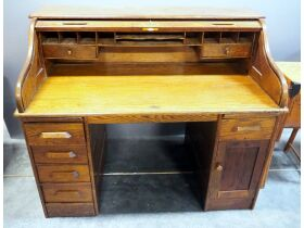 Solid Wood 6 Drawer Roll Top Desk With Dovetail Co
