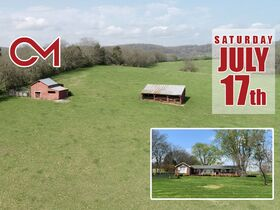 45+/- Acres Offered in Tracts - 4 BR, 3 BA One Level Home - Barns, Outbuildings, Pond, Creek - Auction July 17th featured photo 1