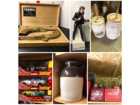 Decanters, Fenton, Nascar Memorabilia & Shelving at Absolute Online Auction featured photo 1