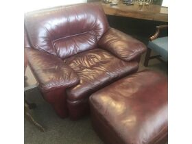 Large leather chair with ottoman