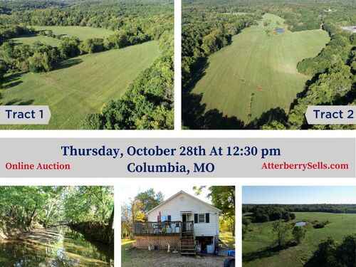 127 +/- Ac. (Offered in Two Tracts) For Livestock or Recreation with Small Farm House - 5435 N. Creasy Springs Rd., Columbia, MO featured photo